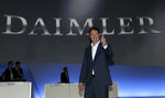Incoming Daimler CEO Ola Kaellenius lifts a thumb prior to the annual shareholder meeting of the car manufacturer Daimler in Berlin, Germany, Wednesday, May 22, 2019. (AP Photo/Michael Sohn)