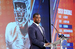 Syracuse's Kendall Coleman speaks during the Atlantic Coast Conference NCAA college football media day in Charlotte, N.C., Wednesday, July 17, 2019. (AP Photo/Chuck Burton)