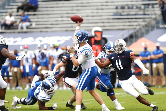 Duke quarterback Chase Brice (8) throws the ball against Virginia during an NCAA college football game Saturday, Sept. 26, 2020, in Charlottesville, Va. (Erin Edgerton/The Daily Progress via AP)