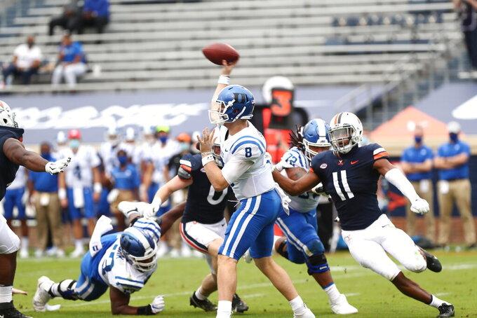 Duke quarterback Chase Brice (8) throws the ball against Virginia during an NCAA college football game Saturday, Sept. 26, 2020, in Charlottesville, Va. (Erin Edgerton/The Daily Progress via AP)