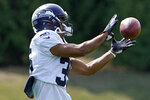 Seattle Seahawks cornerback John Reid runs a drill during NFL football practice, Wednesday, Aug. 25, 2021, in Renton, Wash. Reid was acquired from the Houston Texans in a trade earlier in this week. (AP Photo/Ted S. Warren)