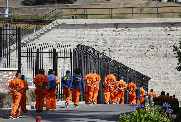FILE - In this Aug. 16, 2016, file photo, a row of general population inmates walk in a line at San Quentin State Prison in San Quentin, Calif. California state prison officials say in a July 27, 2020, court filing that as many as 17,600 inmates are eligible for release due to the coronavirus, 70% more than previously estimated and a total that victims and police say includes dangerous criminals who should stay locked up. (AP Photo/Eric Risberg, File)