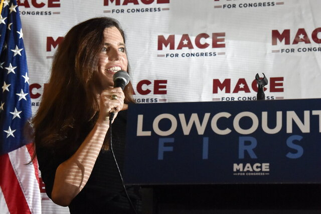 U.S. House candidate Nancy Mace speaks at a campaign event on Monday, Sept. 21, 2020, in North Charleston, S.C. (AP Photo/Meg Kinnard)
