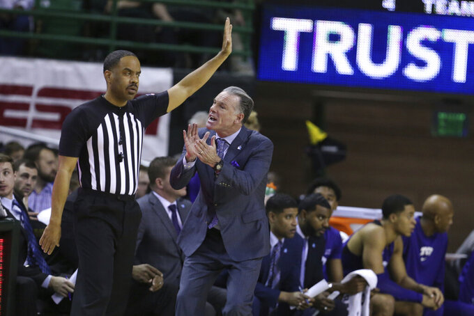 TCU head coach Jamie Dixon reacts to a call against Baylor in the second half of an NCAA college basketball game, Saturday, Feb. 1, 2020, in Waco, Texas. Baylor won 68-52. (AP Photo/Rod Aydelotte)