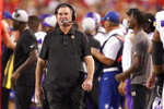 Minnesota Vikings head coach Mike Zimmer watches from the sidelines during the first half of an NFL football game against the Kansas City Chiefs Friday, Aug. 27, 2021, in Kansas City, Mo. (AP Photo/Charlie Riedel)