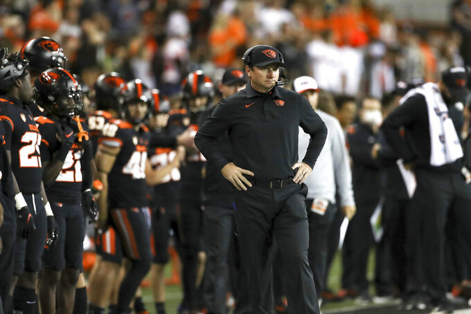 Oregon State head coach Jonathan Smith watches the second half of an NCAA college football game against Hawaii Saturday, Sept. 11, 2021, in Corvallis, Ore. Oregon State won 45-27. (AP Photo/Amanda Loman)