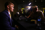 Missouri linebacker Cale Garrett speaks during the NCAA college football Southeastern Conference Media Days, Monday, July 15, 2019, in Hoover, Ala. (AP Photo/Butch Dill)
