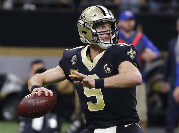 New Orleans Saints' Drew Brees throws during the first half the NFL football NFC championship game against the Los Angeles Rams, Sunday, Jan. 20, 2019, in New Orleans. (AP Photo/John Bazemore)