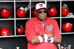 FILE - In this July 8, 2017, file photo, Washington Nationals manager Dusty Baker watches batting practice before a baseball game against the Atlanta Braves in Washington.  A person with knowledge of the negotiations said Tuesday, Jan. 28, 2020, that Baker, 70,  is working to finalize an agreement to become manager of the Houston Astros. The person spoke on condition of anonymity because the deal has not yet been completed. (AP Photo/Mark Tenally, File)