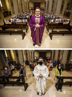 In this combo picture, at top, Robbiano Church parson, Don Giuseppe Corbari, poses in front of selfies he was sent by parishioners as Masses had been suspended following Italy's coronavirus emergency, in Giussano, northern Italy, Sunday, March 15, 2020. At bottom, Don Giuseppe Corbari wears a face mask as churches reopened for faithful Monday, May 18, 2020. (AP Photo/Luca Bruno)