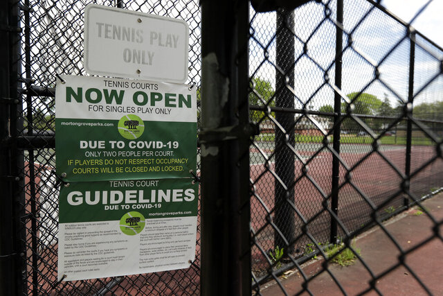 Information signs are display at tennis courts in Morton Grove, Ill., Wednesday, May 27, 2020. Morton Grove Park District has opened it's tennis courts after having them closed for two months due to the COVID-19 outbreak. (AP Photo/Nam Y. Huh)