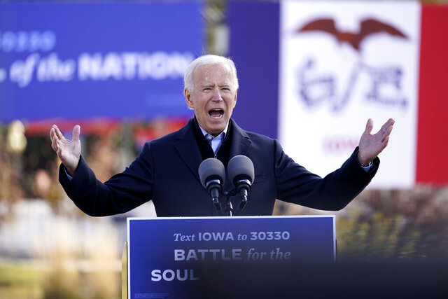 Democratic presidential candidate former Vice President Joe Biden speaks at a rally at the Iowa State Fairgrounds in Des Moines, Iowa, Friday, Oct. 30, 2020. Biden is holding rallies today in Des Moines, Iowa, Saint Paul, Minn., and Milwaukee, Wis. (AP Photo/Andrew Harnik)