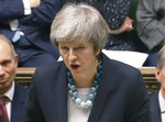 In this grab taken from video, Britain's Prime Minister Theresa May makes a statement in the House of Commons, in London, Monday, Dec.  10, 2018.  May has postponed Parliament's vote on her European Union divorce deal to avoid a shattering defeat _ a decision that throws her Brexit plans into chaos. (PA via AP)