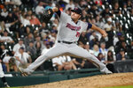 Minnesota Twins relief pitcher Caleb Thielbar delivers during the ninth inning of the team's baseball game against the Chicago White Sox on Wednesday, July 21, 2021, in Chicago. The Twins won 7-2. (AP Photo/Charles Rex Arbogast)