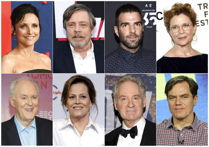 This combination photo shows actors, top row from left, Julia Louis-Dreyfus, Mark Hamill, Zachary Quinto, Annette Bening and bottom row from left, John Lithgow, Sigourney Weaver, Kevin Kline and Michael Shannon, who will participate in a live reading of passages from the Mueller report for