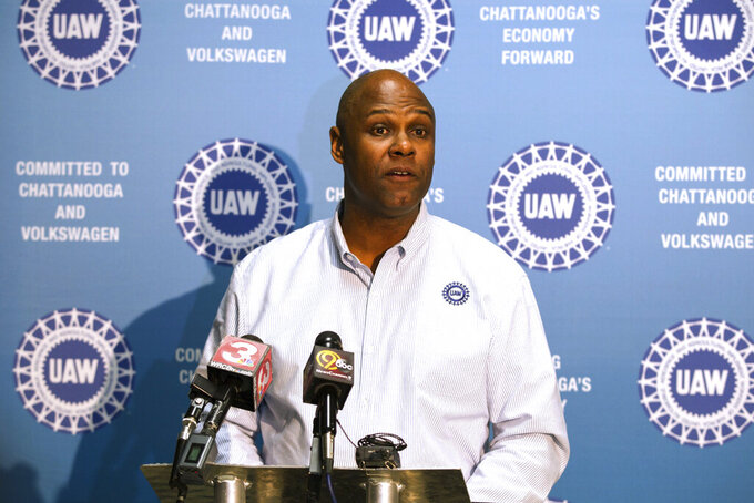 FILE - In this Dec. 4, 2015, file photo Ray Curry, a regional director of the United Auto Workers, speaks in Chattanooga, Tenn. On Monday, June 28, 2021, Curry was elected president of the union. (AP Photo/Erik Schelzig, File)