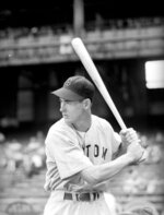 FILE - This May 23, 1941, file photo shows Boston Red Sox' Ted Williams at Yankee Stadium in New York. Tony Gwynn and George Brett are the only players who have come within 10 points of a .400 season since Ted Williams had the last one in 1941, hitting .406 overall, only one point lower than he was through 60 games for the Red Sox that season. (AP Photo/Ted Sande, File)