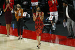 Georgia coach Joni Taylor applauds during the team's NCAA college basketball game against Jacksonville State in Athens, Ga., Wednesday, Dec. 9, 2020. (Joshua L. Jones/Athens Banner-Herald via AP)