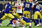Notre Dame's Jonathan Doerer kicks a field goal against Clemson during the fourth quarter of an NCAA college football game Saturday, Nov. 7, 2020, in South Bend, Ind. (Matt Cashore/Pool Photo via AP)