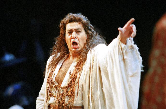FILE - In this Nov. 5, 1994 file photo, Placido Domingo performs in the San Francisco Opera's production of