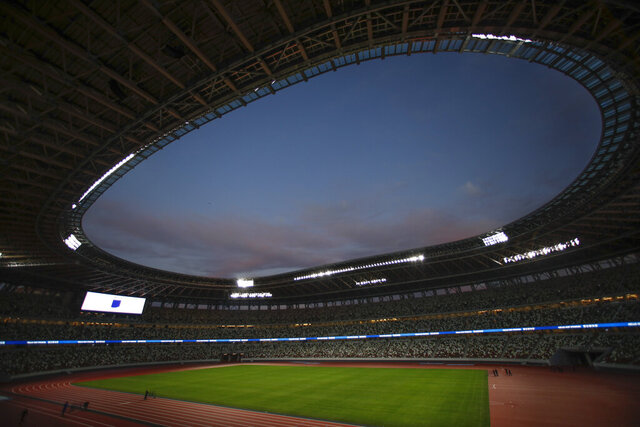 A general view of the new National Stadium is seen Sunday, Dec. 15, 2019, in Tokyo. The stadium is officially completed. (AP Photo/Jae C. Hong)