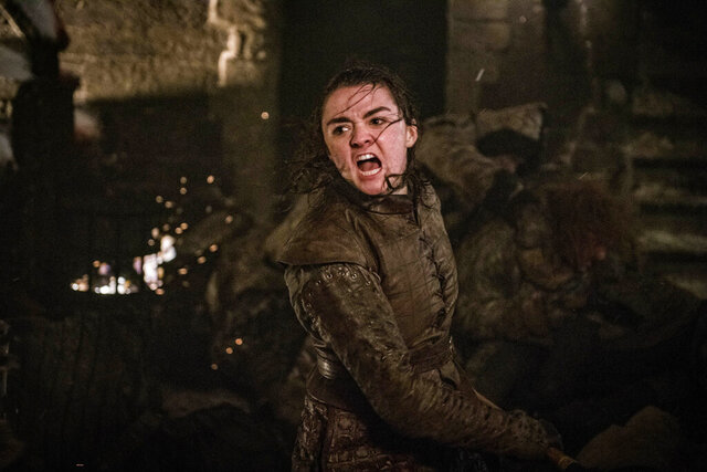 This image released by HBO shows Maisie Williams as Arya Stark in a scene from