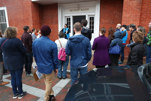 Jalane Schmidt, a local activist and University of Virginia professor, leads history teachers from Albemarle and Charlottesville schools on a local monument tour Wednesday, March 11, 2020, around downtown Charlottesville, Va. (Erin Edgerton/The Daily Progress via AP)