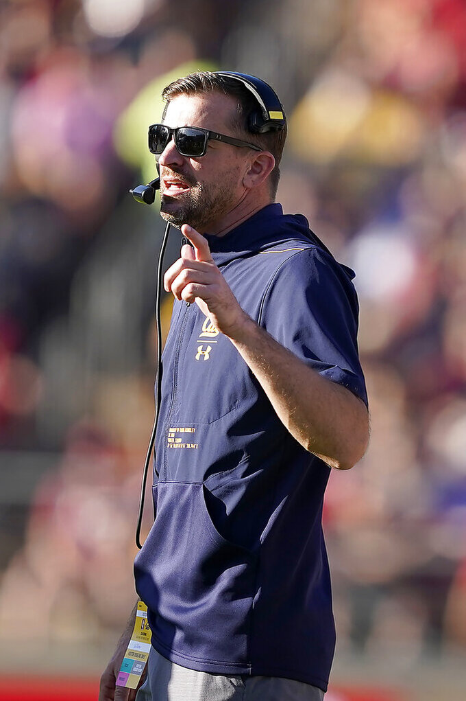 California head coach Justin Wilcox calls out to his players during the first half against Stanford in a NCAA college football game Saturday, Nov. 23, 2019 in Stanford, Calif. (AP Photo/Tony Avelar)