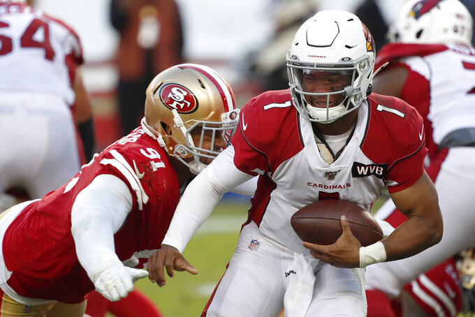 San Francisco 49ers defensive end Arik Armstead (91) sacks Arizona Cardinals quarterback Kyler Murray (1) during the second half of an NFL football game in Santa Clara, Calif., Sunday, Nov. 17, 2019. (AP Photo/Josie Lepe)