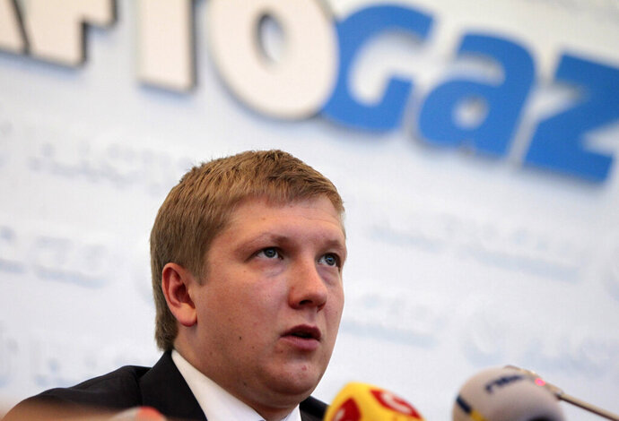 FILE - In this June 13, 2014, file photo, Naftogaz chief executive officer Andriy Kobolyev speaks during a news conference in Kyiv, Ukraine. Federal prosecutors have interviewed the head of Ukraine's state-owned gas company as part of an ongoing probe into the business dealings of Rudy Giuliani and two of his Soviet-born business associates. (AP Photo/Sergei Chuzavkov, File)