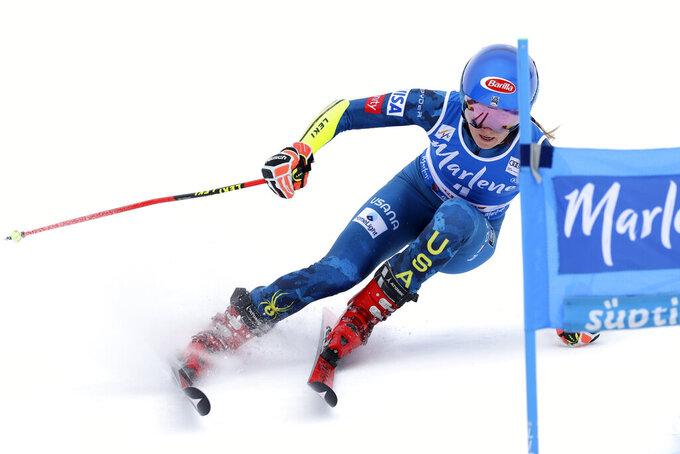 United States' Mikaela Shiffrin competes during an alpine ski, women's World Cup giant slalom, in San Vigilio di Marebbe, Italy, Tuesday, Jan. 26, 2021. (AP Photo/Alessandro Trovati)