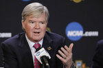 FILE - In this March 30, 2017, file photo, NCAA President Mark Emmert answers a question during a news conference in Glendale, Ariz. The NCAA is opening a door for states with legalized sports gambling to host NCAA championship events. The governing body for college sports on Thursday, May 17, 2018, announced a