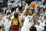 FILE - In this Feb. 8, 2020, file photo, Penn State's Lamar Stevens (11) scores on Minnesota's Alihan Demir (30) in late second-half action of an NCAA college basketball game in State College, Pa. Stevens was selected to the Associated Press All-Big Ten team selected Tuesday, March 10, 2020.(AP Photo/Gary M. Baranec, File)