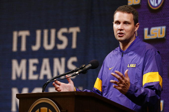 LSU head coach Will Wade speaks during the Southeastern Conference NCAA college basketball media day, Wednesday, Oct. 16, 2019, in Birmingham, Ala. (AP Photo/Butch Dill)