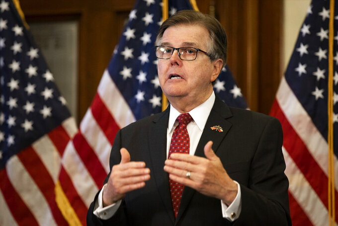 Texas Lt. Gov. Dan Patrick speaks after Texas Governor Greg Abbott announced the reopening of more Texas businesses during the COVID-19 pandemic at a press conference at the Texas State Capitol in Austin on Monday, May 18, 2020. Abbott said that childcare facilities, youth camps, some professional sports, and bars may now begin to fully or partially reopen their facilities as outlined by regulations listed on the Open Texas website. (Lynda M. Gonzalez/The Dallas Morning News via AP)