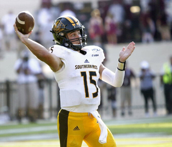 Southern Mississippi quarterback Jack Abraham (15) throws a pass in the second half of an NCAA college football game against Mississippi State, Saturday, Sept. 7, 2019, in Starkville, Miss.. (AP Photo/Jim Lytle)