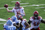 North Carolina State quarterback Ben Finley (10) passes against North Carolina during the first half of an NCAA college football game in Chapel Hill, N.C., Saturday, Oct. 24, 2020. (AP Photo/Gerry Broome)