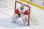 Detroit Red Wings goaltender Calvin Pickard defends his net during the third period of an NHL hockey game against the New York Islanders Tuesday, Jan. 14, 2020, in Uniondale, N.Y. The Islanders won 8-2. (AP Photo/Frank Franklin II)