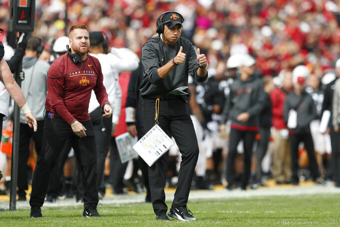 Iowa State head coach Matt Campbell, center, reacts to his team during the first half of an NCAA college football game against TCU, Saturday, Oct. 5, 2019, in Ames, Iowa. (AP Photo/Charlie Neibergall)