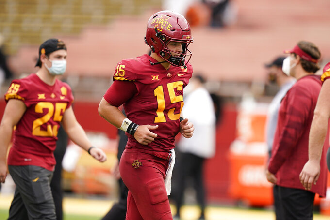 Iowa State quarterback Brock Purdy (15) runs off the field after an NCAA college football game against Louisiana-Lafayette, Saturday, Sept. 12, 2020, in Ames, Iowa. Louisiana-Lafayette won 31-14. (AP Photo/Charlie Neibergall)