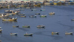 Palestinian fishing boats moored in the Gaza seaport in Gaza City, Thursday, June 13, 2019. The Israeli military took the rare step of closing the Gaza Strip's offshore waters to Palestinian fishermen Wednesday until further notice in response to incendiaries launched into Israel in recent days. (AP Photo/Hatem Moussa)