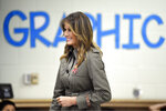 First lady Melania Trump arrives at Lambs Elementary, Wednesday, Oct. 30, 2019., as part of a trip to observe disaster preparation and response in North Charleston, S.C. (AP Photo/Meg Kinnard)