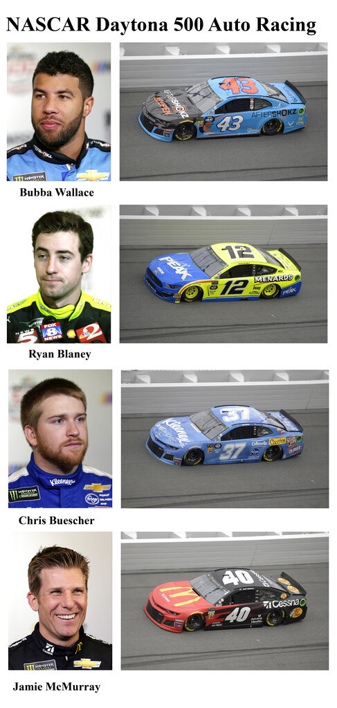In these photos taken in February 2019, qualifying drivers and their cars in the starting field for Sunday's NASCAR Daytona 500 auto race are shown at Daytona International Speedway in Daytona Beach, Fla. They are, from top, Row 7, Bubba Wallace, Ryan Blaney, Row 8, Chris Buescher and Jamie McMurray. (AP Photo)