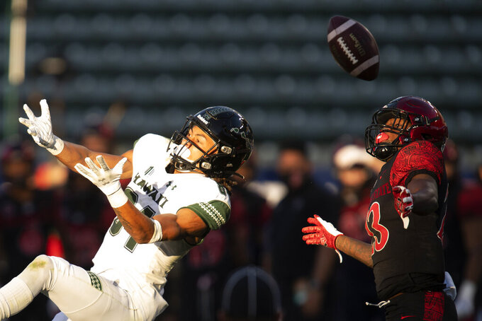 Hawaii wide receiver Nick Mardner, left, cannot catch a pass during the second half of an NCAA college football game against San Diego State Saturday, Nov. 14, 2020, in Carson, Calif. (AP Photo/Kyusung Gong)