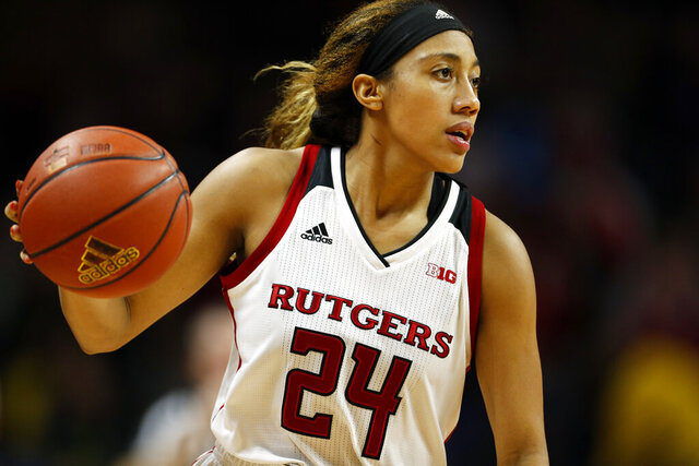 FILE - In this Friday, Dec. 28, 2018, file photo, Rutgers guard Arella Guirantes handles the ball against Northwestern during an NCAA college basketball game, in Piscataway, N.J. Guirantes is headed back to Rutgers instead of choosing to enter the WNBA draft, which is scheduled to be held April 17, 2020. (AP Photo/Adam Hunger, File)