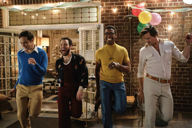 This image released by Netflix shows, from left, Jim Parsons, Robin De Jesus, Michael Benjamin Washington and Andrew Rannells in a scene from