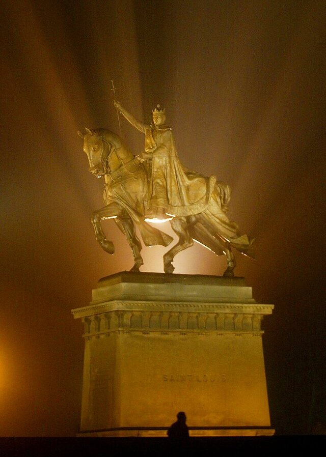 The Apotheosis of St. Louis, a statue of King Louis IX, stands in front of the St. Louis Art Museum in March 2013. The statue, by Charles Henry Niehaus, was presented to the City of St. Louis by the Louisiana Purchase Exposition in 1906. The statue has been the recent focus of protesters who believe the statue should be removed because of the checkered history of King Louis IX. (J.B. Forbes/St. Louis Post-Dispatch via AP)