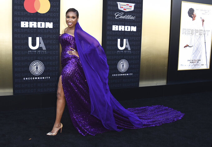 """FILE - Cast member Jennifer Hudson arrives at the Los Angeles premiere of """"Respect"""" on Aug. 8, 2021, in Los Angeles. Hudson turns 40 on Sept. 12. (Photo by Jordan Strauss/Invision/AP, File)"""