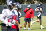 Houston Texans NFL football interim head coach Romeo Crennel starts his first practice leading the team Wednesday, Oct. 7, 2020, at The Houston Methodist Training Center in Houston. (Brett Coomer/Houston Chronicle via AP)