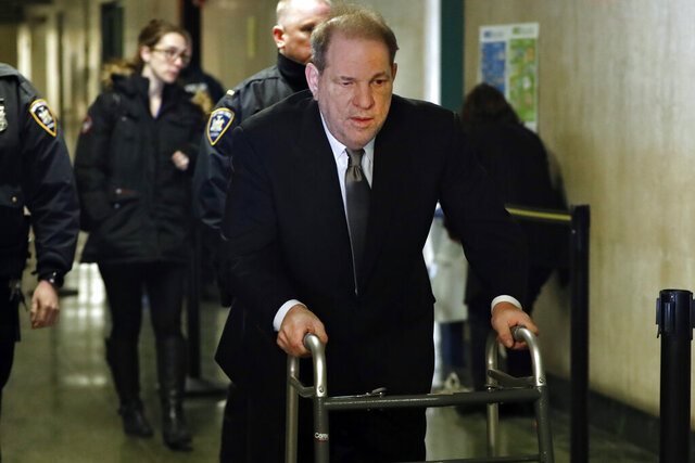 Harvey Weinstein arrives at court for jury selection in his sexual assault trial Wednesday, Jan. 8, 2020, in New York. (AP Photo/Richard Drew)
